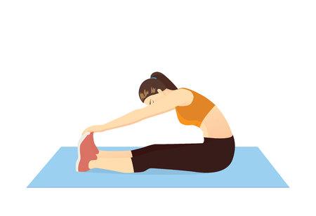 Mujer haciendo ejercicio de estiramiento táctil del dedo del pie sentado en la alfombra azul. Ilustración sobre calentamiento y enfriamiento y entrenamiento. Ilustración de vector