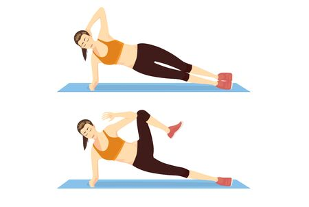 Woman doing Exercise with Side Plank Crunch in 2 Step on blue mat. Illustration about abs workout motivation