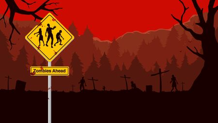 Zombie ahead symbol sign for warning about danger area front side because zombies rising from graves. Illustration about fantasy background in red theme.  イラスト・ベクター素材