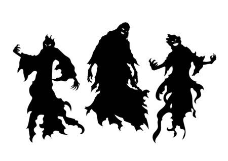 Silhouette of flying evil spirit isolated on white. Illustration about ghost and fantasy.