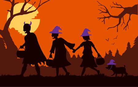Children group and dog wearing fancy clothes and hat as witch and devil carrying a pot walking pass a forest for solicit gifts at Halloween night.