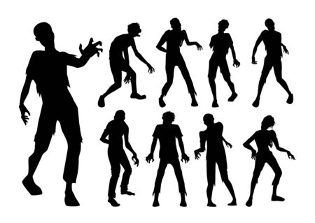 Male Zombie standing and walking actions in Silhouette style collection. Full lenght of people resurrected from the dead.  イラスト・ベクター素材