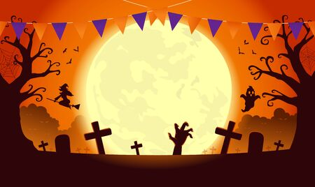 Halloween template background in orange theme with dread tree in graveyard and ghost and witch. Silhouette illustration about holiday celebration.