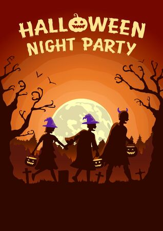 Halloween poster with Children group wearing fancy clothes and hat as witch carrying a pot to solicit gifts at night. Orange Theme Illustration.