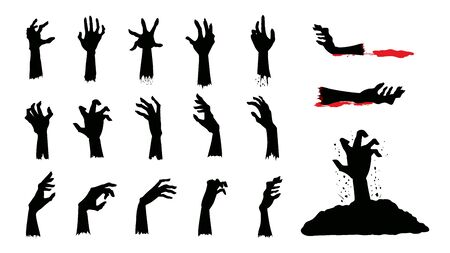 Silhouettes of Zombie Hands in different action in collection. Graphic resource about horror concept.