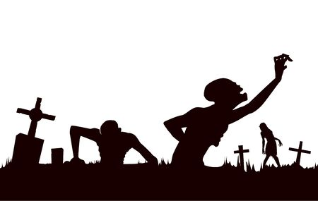 Silhouette Zombie out of the grave with cross isolated on white background. Illustration about Halloween concept.