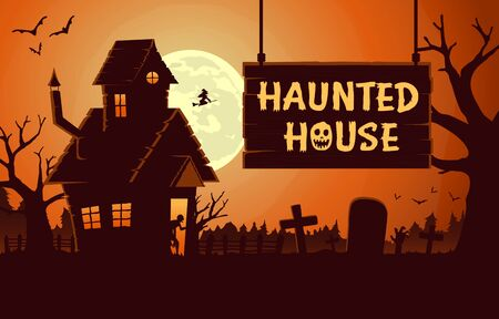 Horror background template with Haunted house at full moon night. Illustration about Halloween theme ideal for web screen.