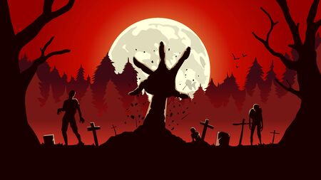 Zombie arm out from ground of grave in a full moon night and red sky. Silhouette background for horror concept. Illustration