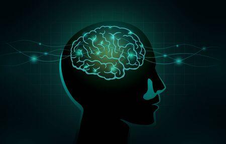 Les petites cellules et la ligne d'onde se déplacent dans le cerveau humain. Illustration conceptuelle sur le travail des réseaux du système nerveux et du cerveau.