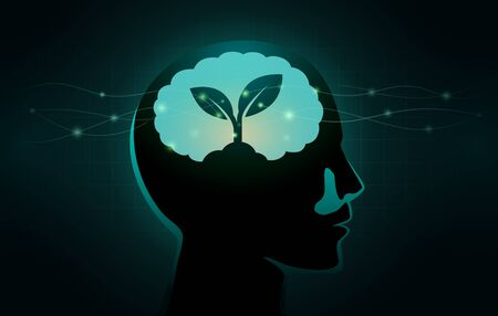 Small Tree growing in human brain. Silhouette illustration about growth mindset concept and good Attitude.
