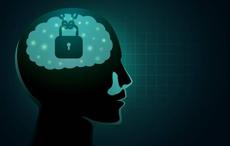 Chain and lock in human head. Concept Illustration about Intellectual Property Protection.