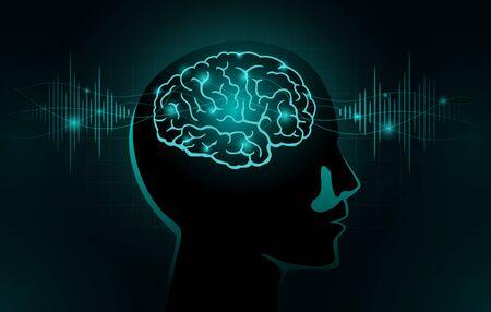 Deeltjes verplaatsen zich naar het menselijk brein. Concept illustratie over hersengolf en frequentie