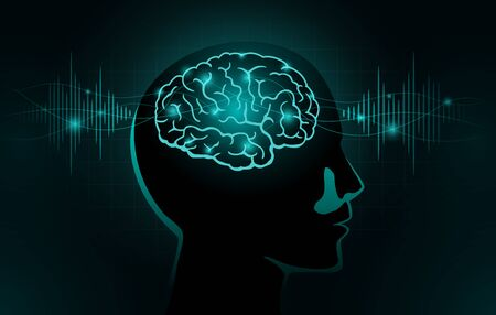 Particles move into human brain. Concept Illustration about Brain wave and Frequency