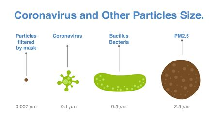 Comparison of coronavirus size and other particle. Infographic about virus that case of 2019-ncov disease and Covid-19.