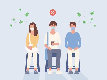 Peoples wear a surgical mask sitting on a chair close to each other that not Social distancing. Illustration about wrong way to protection your self from virus spreading Illustration