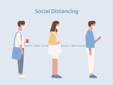 People wearing a mask doing social distancing while standing in queue in a community. Illustration about way to prevent Covid-19 spread in public place.