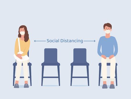 Man and Women who wearing a mask siting on a chair and make blank space for taking social distancing while waiting something. Illustration about way to prevent Coronavirus spread in public place. Vectores