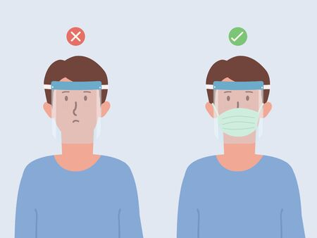 Correct and wrong way to using a Plastic face shield to prevent viruses. Wear a Face shield pair with a surgical mask. New normal to clothing to protect Coronavirus infection. Illustration