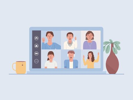 Laptop screen show a video conference of a business team. People Meeting online via the internet. Illustration about the new normal and new behavior of work at home.