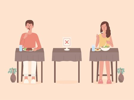 Man and Women doing social distancing while eating food alone at tables in the restaurant. Make blank space to prevent and stop Coronavirus spread in public places. Illustration about self isolation and new normal. Illustration