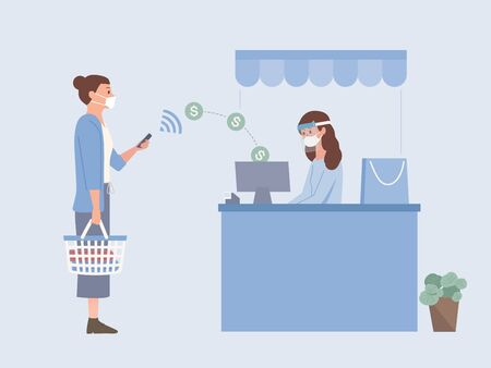 People wearing a surgical mask and holding Shopping basket using Mobile Payment to pay Money online to sending money into drawer of Cash register at the cashier of a shopping mall. The new normal.