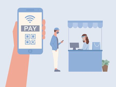 Man touching mobile screen for payment by scan QR code to paying to female Cashier. New normal of shopping with Online Payment application instead of paying with cash.