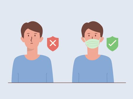 Men wearing a surgical mask cover his face with a shield icon with right and wrong symbol. Illustration about The New normal of Lifestyle out of home to prevent viruses.