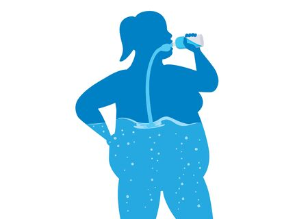 Silhouette of fat women drinking water from bottle flow into body. Concept Illustration about a healthy lifestyle with clean water.