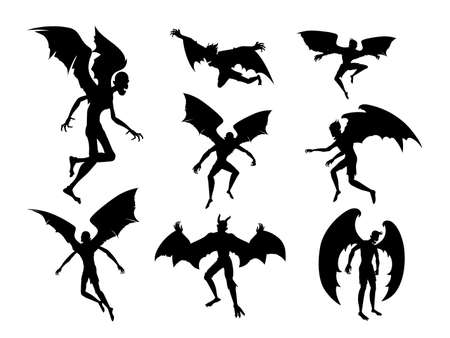 Silhouette bat devil in the human body. Men spirit with bat wing in different posture. Illustration about dracula monster and fantasy for Halloween theme.