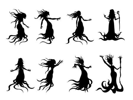 Silhouette of flying evil women spirit like a witch holding a magic wand in vector style collection. Illustration about whisper ghost and fantasy.