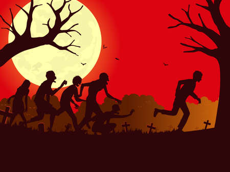 Silhouette vector man run away from the zombie group in the graveyard. Illustration about zombie crowd attack people in Halloween night.