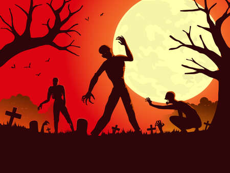 Zombie resurrection from the grave in full moon night and rampage. Silhouettes illustration for Halloween night party theme.