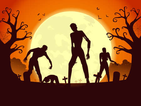 Zombie crowd resurrection and walking out from the grave in full moon night. Silhouettes illustration for Halloween theme.