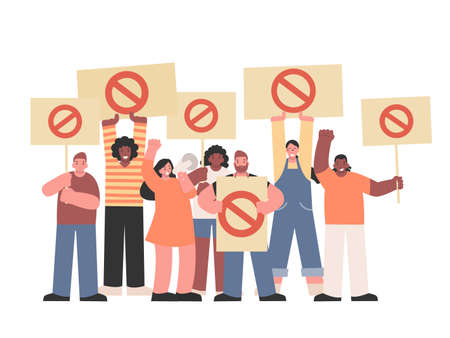Many Protester holding stop sign and Megaphone for Protest something. Illustration about meeting was Mob of people who disagree or Anti and fight Injustice and corruption. Vecteurs