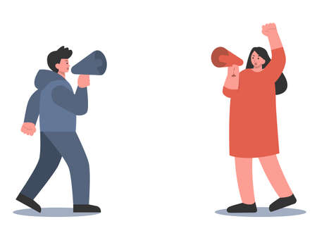 Man and women holding Megaphone and debate about different thinking and Attitude. Illustration about conflict thinking, hate, talk.
