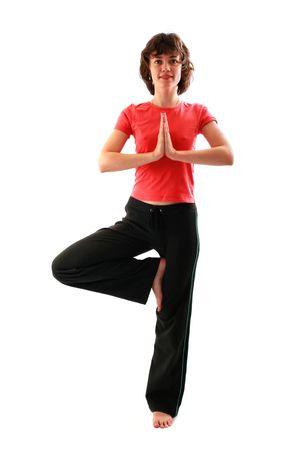 Yoga poses series. Tree Pose. Vrikshasana. Isolated on white background. photo