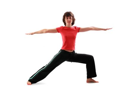 Yoga poses series. The warrior pose II. Virabhadra II. Isolated on white background. photo