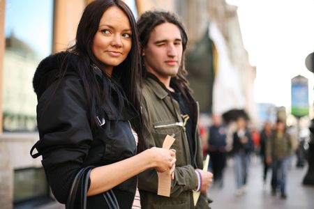 Young couple together on a street photo