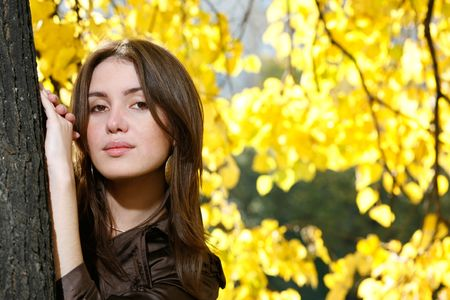 Beautiful young woman leaning to tree trunk in yellow autumn park. photo