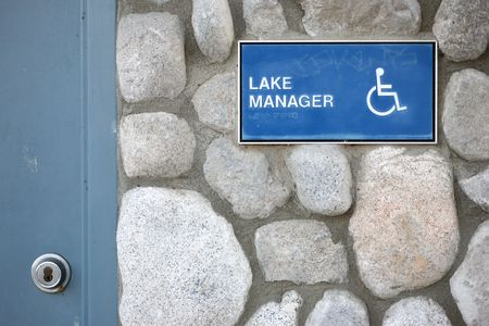 disable: Disable lake manager sign Stock Photo