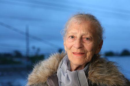 winter fashion: Portrait of a senior woman at winter