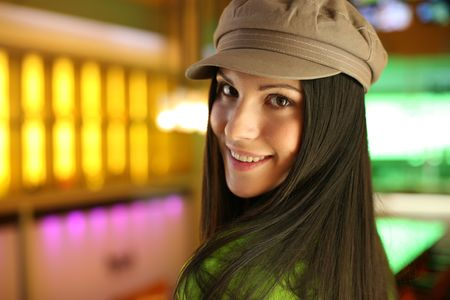 shallow dof: Portrait of a hip beautiful young woman in cap hat. Shallow DOF.