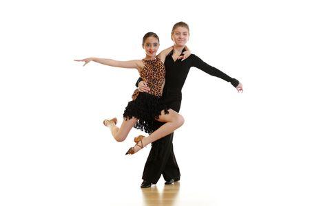흰색 배경에 고립 된 젊은 댄서