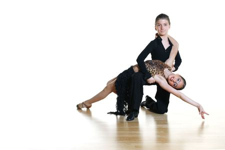 dancing pose: Young dancers isolated on white background