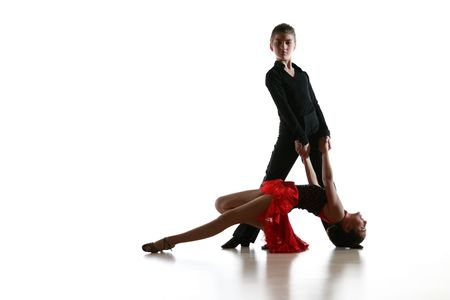 latin girls: Young dancers in latin dance pose