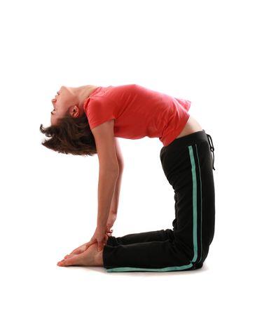 ushtrasana: Yoga poses series. Ushtrasana. Camel Pose. Isolated on white background. Stock Photo