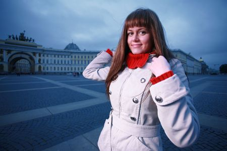 Beautiful young woman at Palace Square, St. Petersburg, Russia. photo