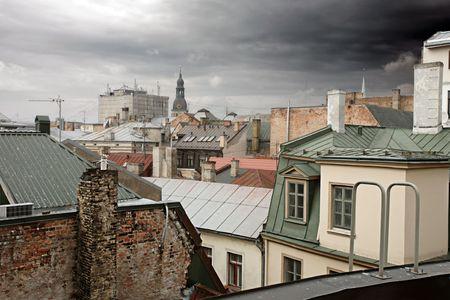 latvia: Old Riga rooftops, Latvia Stock Photo