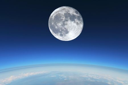 Full Moon over Earth's stratosphere. Stok Fotoğraf