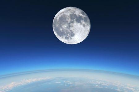 stratosphere: Full Moon over Earths stratosphere. Stock Photo